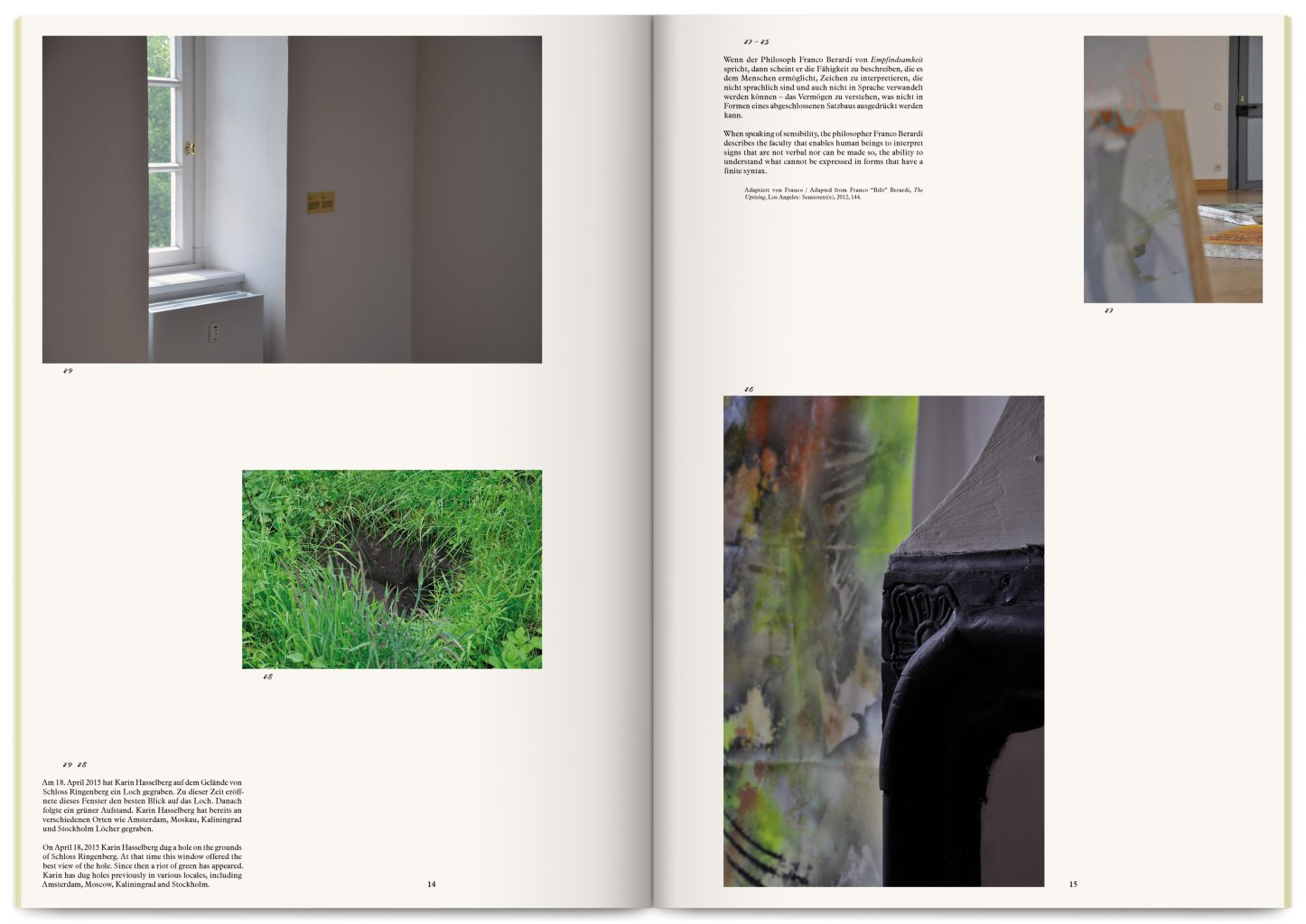 Publication and printed matter for Neither Here Nor There, Neither Fish Nor Fowl exhibition curated by Antonia Lotz, Angela Jerardi at Schloss Ringenberg, MGK Siegen, Ringenberg, designed by In the shade of a tree studio, founded by Sophie Demay and Maël Fournier Comte.