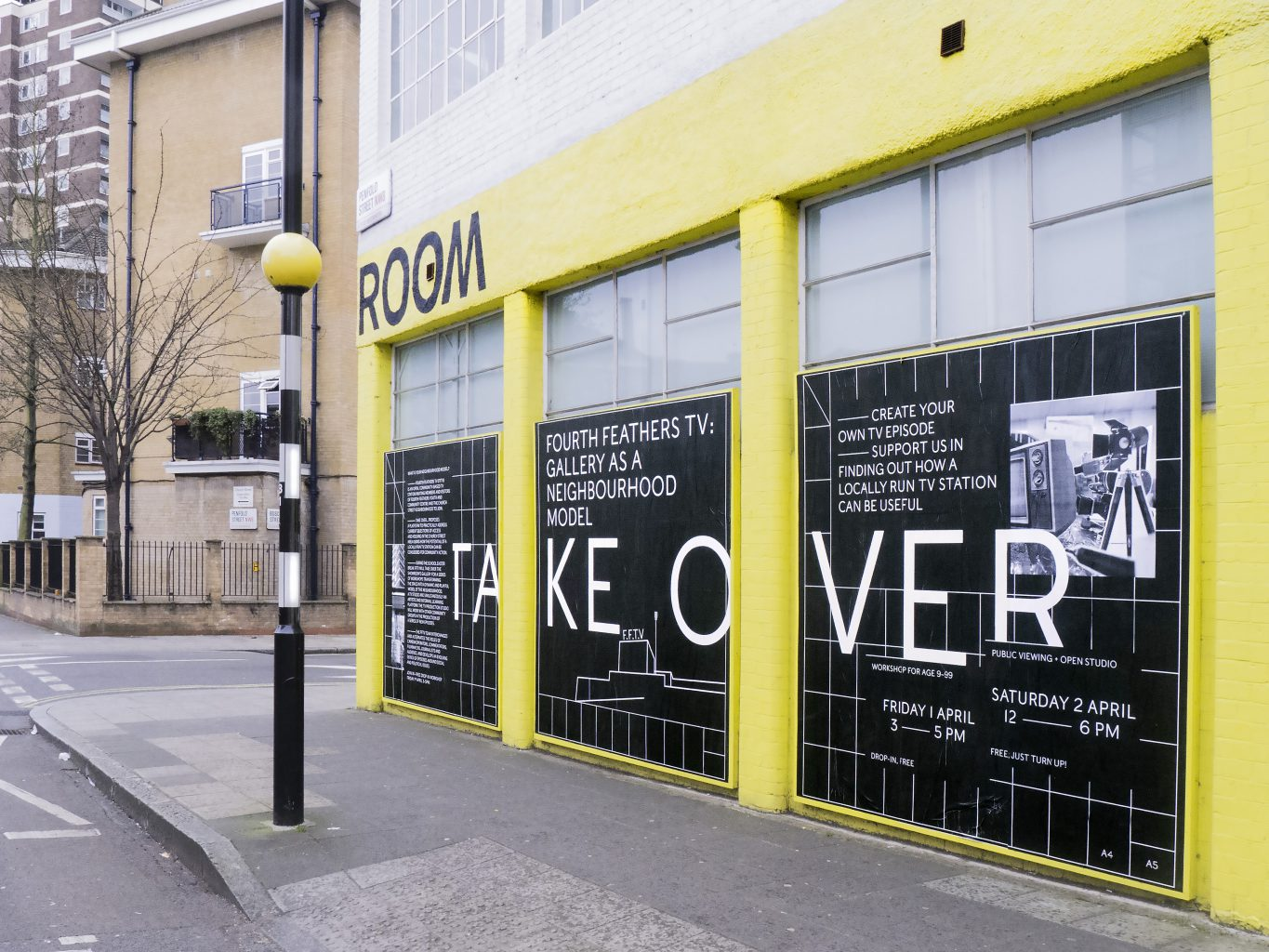 Exhibition design of Take Over: Gallery as a neighbourhood model, exhibition and community workshop at The Showroom Gallery, Paddington, London, designed by In the shade of a tree studio, founded by Sophie Demay and Maël Fournier Comte.