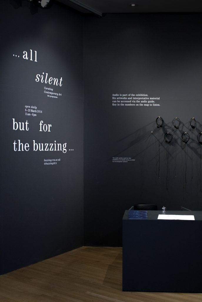 All silent… but for the buzzing, exhibition design and identity for the exhibition, organised by the Curating Contemporary Art Department, Royal College of Art, London, designed by Lola Halifa-Legrand and In the shade of a tree studio, founded by Sophie Demay and Maël Fournier Comte.