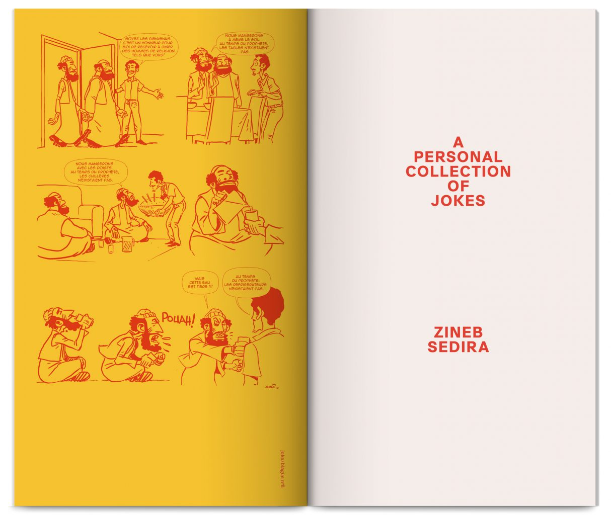 A Personal Collection of Jokes, artist book by Zineb Sedira, trilingual Algerian arabic, English, French, design by In the shade of a tree studio, founded by Sophie Demay and Maël Fournier Comte.