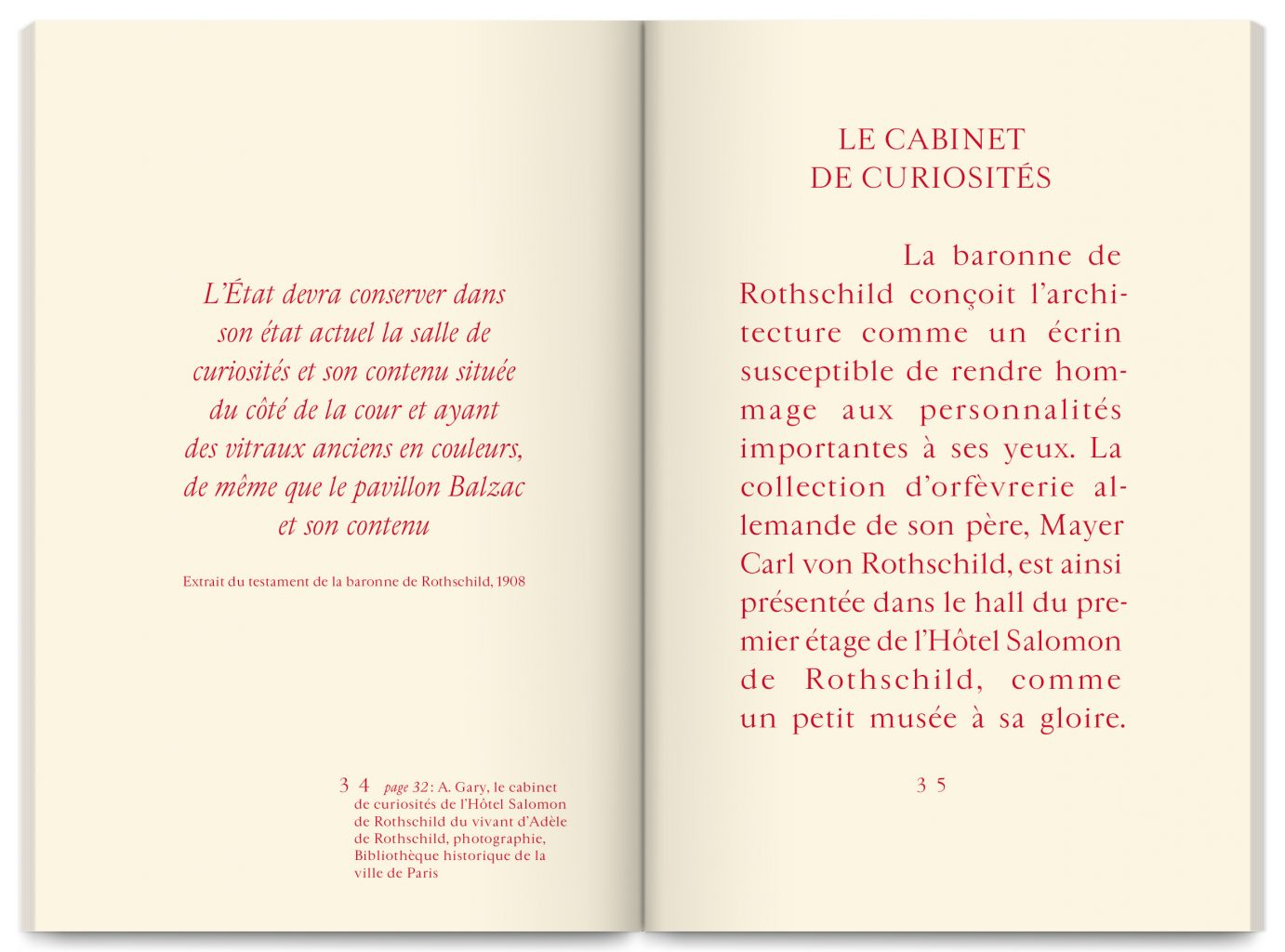 Publication Cabinet de curiosités – Hôtel Salomon de Rothschild, published by FNAGP, designed by In the shade of a tree studio, founded by Sophie Demay and Maël Fournier Comte.