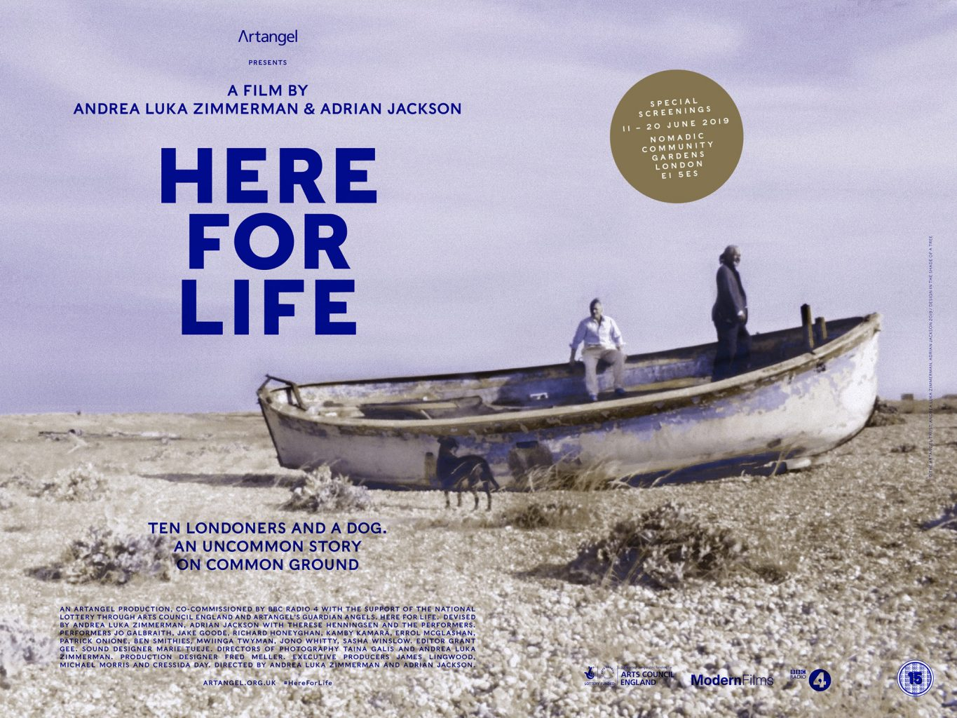 Poster and printed matter for Here for Life, a film by Andrea Luka Zimmerman and Adrian Jackson, produced by Artangel London designed by In the shade of a tree studio, founded by Sophie Demay and Maël Fournier Comte.